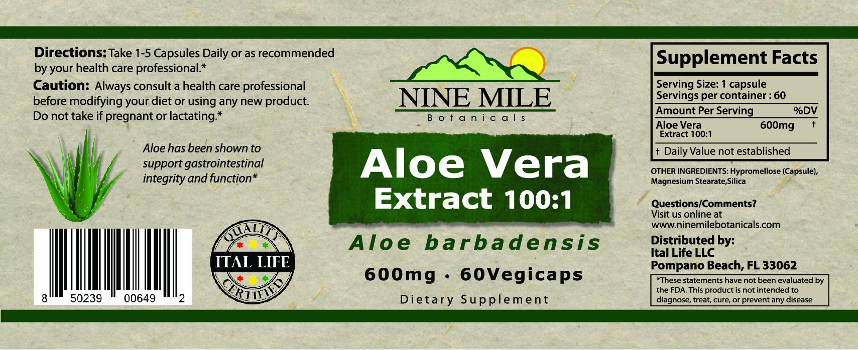 Nine Mile Botanicals Aloe Vera label