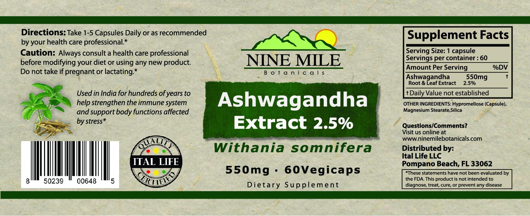 Nine Mile Botanicals Ashwagandha Label