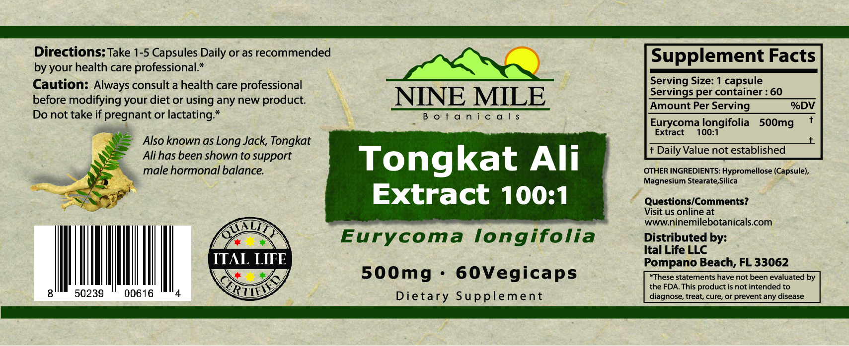 Nine Mile Botanicals 100cc Tongkt ALi Label